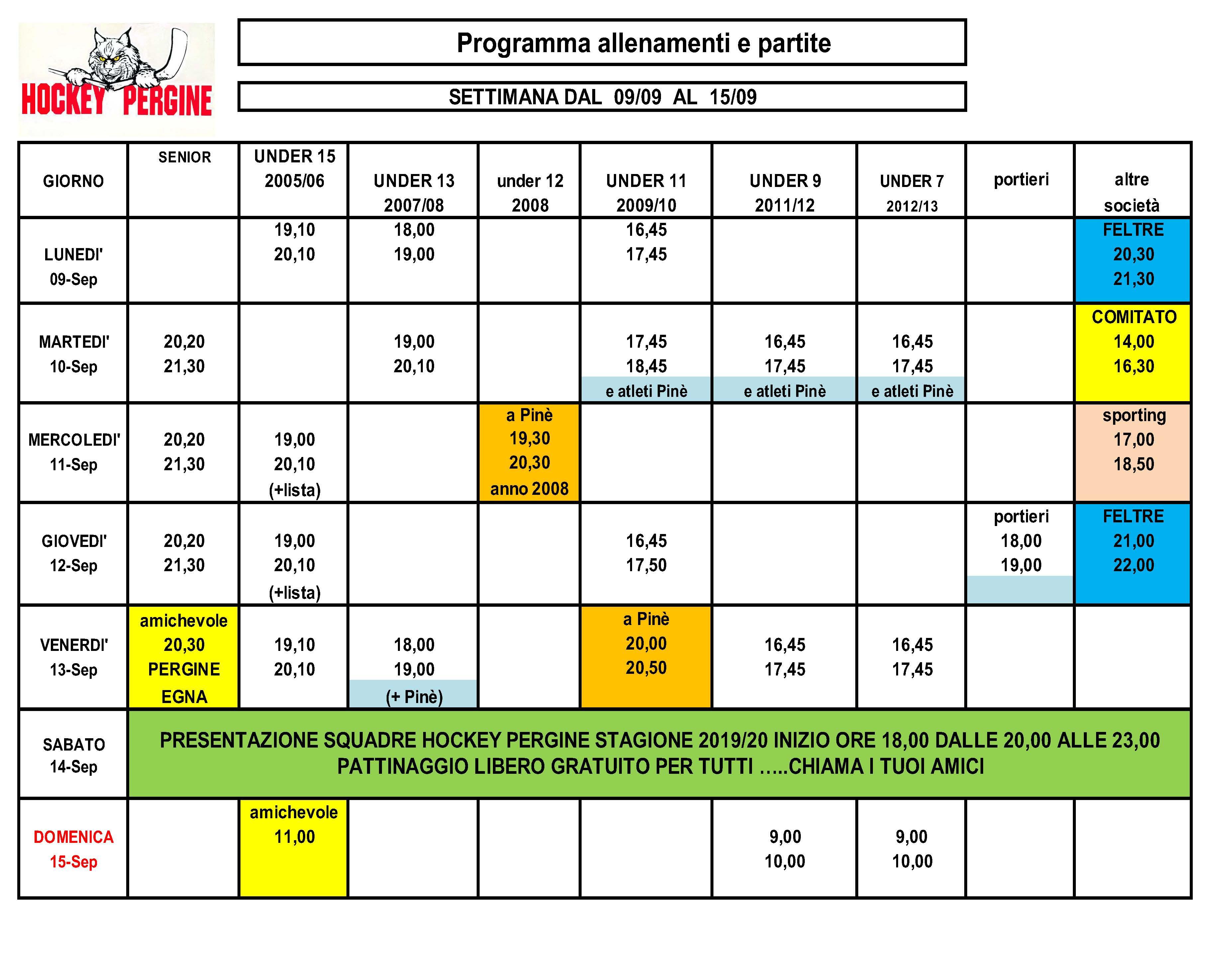 Calendario Innesti Pdf.Allenamenti Hockey Pergine
